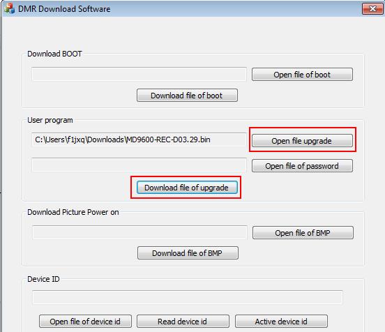 logiciel mise à jour firmware tyt md-9600